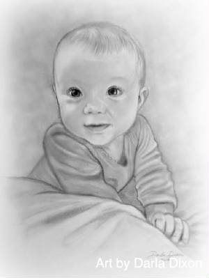 baby girl pencill portrait sketch gift