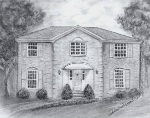 Drawing Of A Home In Graphite Pencil