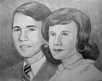Valentine pencil portrait anniversary couple drawn