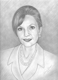 pencil portrait j ginn woman of year ABWA