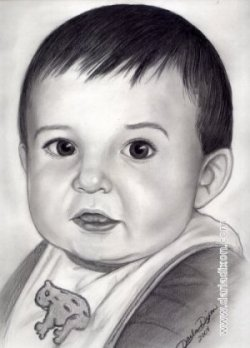 toddler boy graphite pencil portrait drawing