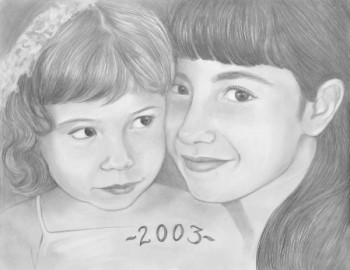 pencil portrait drawn of sisters hugging